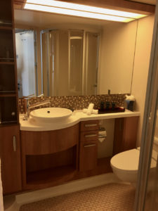 Bathroom of cabin 6166 on Celebrity Silhouette