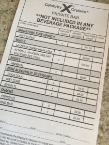 Celebrity Silhouette Private Bar Price List